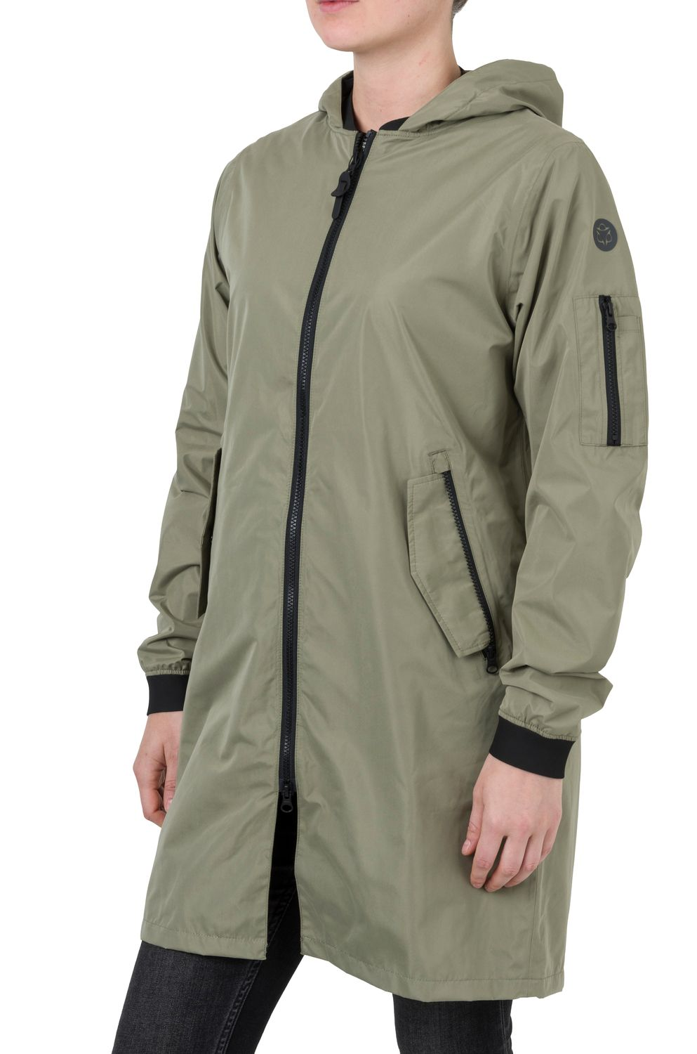 Long Bomber Regenjas Urban Outdoor Dames fit example